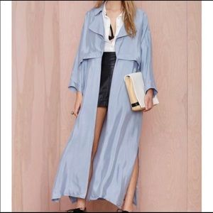 Nasty Gal long trench coat in blue/gray
